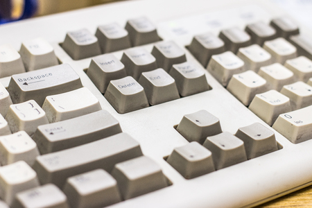 Old Dirty retro keyboard of a vintage computer from 1990s