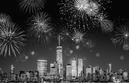 New York City Skyline with Flashing Fireworks - A night long exposure of New Years Eve Celebration