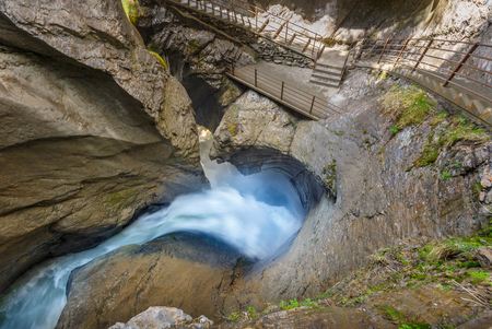 Trummelbach waterfall is the biggest waterfall in Europe, inside a mountain accessible for public. The Waterfall is located close to Lauterbrunnen village, canton Bern,  Switzerland Banque d'images