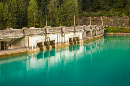 View on  diga di santa caterina water dam with azure clear water
