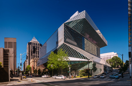 Seattle, Washington, USA - August 5, 2017: Public Library in Seattle. The Central Library was designed by Rem Koolhaas and Joshua Prince-Ramus and was opened during celebration in 2004 Editorial