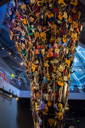 Seattle, Washington, USA - August 4, 2013: Art Installation reassembling stream of music made from various type of musical instruments, mainly guitars in Museum of Arts, Seattle, Washington