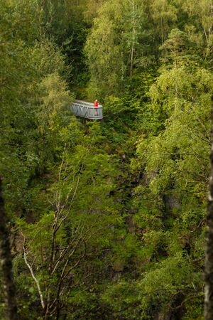Viewpoint with stunning view on the Corrieshalloch Gorge National Nature Reservation near Braemore, Garve, Scotland, UK