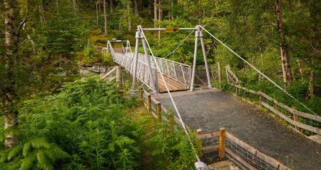 Suspension Bridge above Corrieshalloch Gorge National Nature Reservation near Braemore, Garve, Scotland, UK