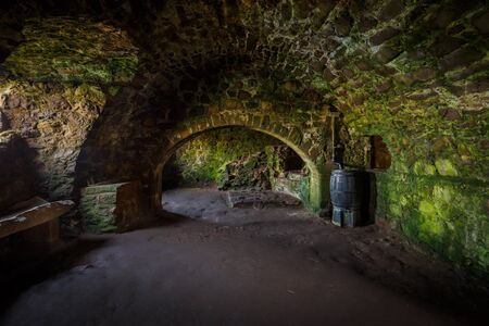 Interior of an old kitchen in Dunnottar Castle, near Stonehaven, Aberdeenshire, Scotland, UK