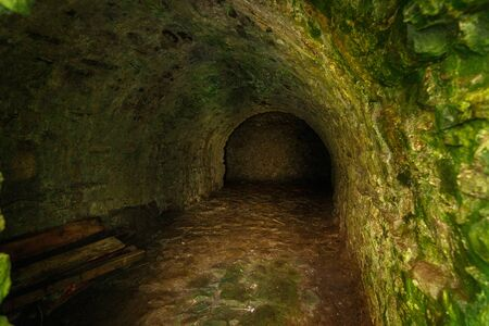 Dark room in Dunnottar Castle, near Stonehaven, Aberdeenshire, Scotland, UK