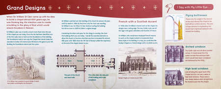 Aug 8, 2019: Edinburgh, Scotland, UK - info Panel showing visualisation of finished Rosslyn Chapel surrounded by tourists, made in 1446 from sandstone and made famous by The DaVinci Code movie