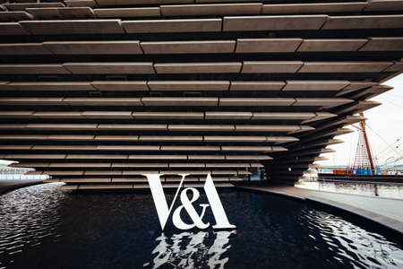 Dundee, Scotland - July 31, 2019: V&A Dundee designed by Kengo Kuma and opened on 18 Sept, 2018 is a first design museum, located in Dundee, Scotland, UK Editorial