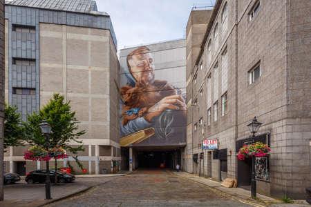 Aberdeen, Scotland - 31 July, 2019: Street art in streets close to Aberdeen Market, Aberdeen, Scotland, UK