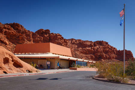 Valley of Fire, Nevada, USA - October 6, 2019: Visitors Center in Valley of Fire State Park, in Nevada, USA
