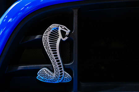 Las Vegas, Nevada, US October 15, 2019 - Metal Shelby logo on front of a blue Mustang Shelby GT Editorial