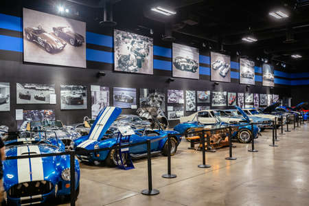 Las Vegas, Nevada, USA - October 15, 2019: Carol Shelby Museum displaying its car collection of Shelby Cobras and Mustangs