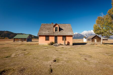 Pink House on the John Moulton ranch in Mormon Row Historic District in Grand Teton National Park, Wyoming - The most photographed barn in America