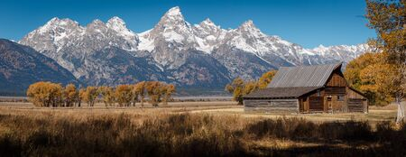 T.A. Moulton Barn within Mormon Row Historic District in Grand Teton National Park, Wyoming - The most photographed barn in America Stock Photo