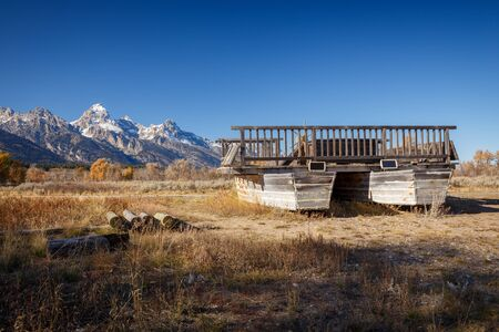 Menor's reaction ferry in Grand Teton National Park, Wyoming, USA was ideal crossing point of the Snake River channel