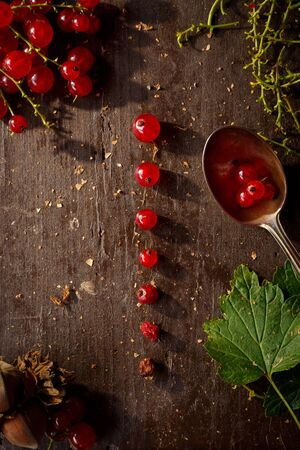 Table top view bunch of red currant, separated / disassembled berries laying on a dark wooden table, surrounded by leaves and other objects Banco de Imagens