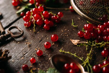 Table top view bunch of red currant, separated / disassembled berries laying on a dark wooden table, surrounded by leaves and other objects Standard-Bild