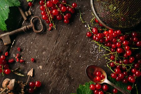 Table top view on a bunch of redcurrant on a dark wooden table with empty blank copy space for a text Banco de Imagens