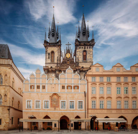 Church of Our Lady before Týn, Prague, Czech Republic, Europe, during sunny day with blue sky