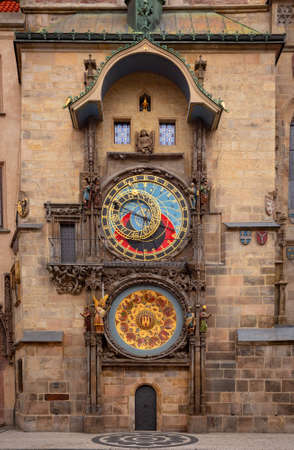 Detail of Prague Astronomical Clock built around 1470, displaying the twelve apostles as the clock strikes Clock are built on Old-Town City Hall in Prague, Czech Republic (Czechia)