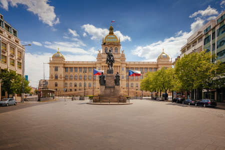 Wenceslas Square with equestrian statue of saint Vaclav in front of National Museum in Prague, Czech Republic (Czechia), Europe