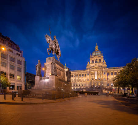 Wenceslas Square with equestrian statue of saint Vaclav in front of National Museum during the night in Prague, Czech Republic (Czechia), Europe