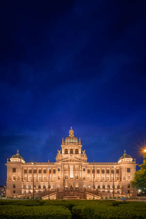 The National Museum at Wenceslav's Square during a night with blue sky in Prague, Czech Republic (Czechia), Europe