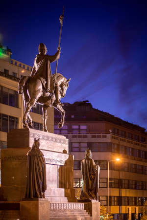 Wenceslas Square with equestrian statue of saint Vaclav in front of National Museum during a night in Prague, Czech Republic (Czechia), Europe