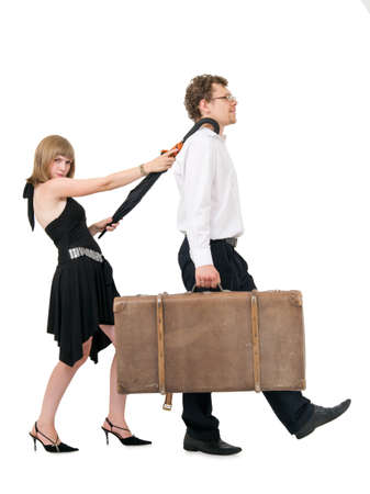 Couple with suitcase and umbrella and Stock Photo - 9387846