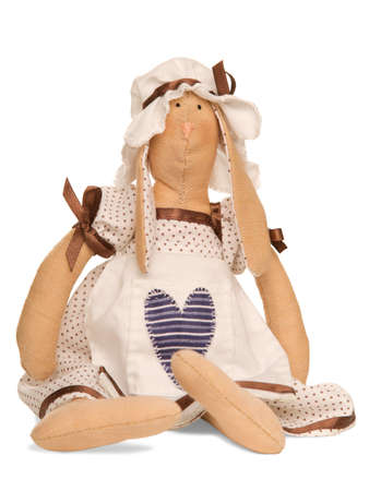 soft toy: soft toy hare-housewife. isolated over white. made with love )