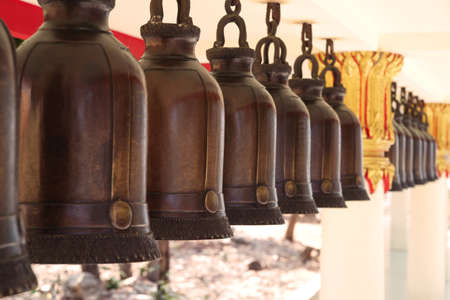 Buddhistic bells at Big Buddha Hill temple at sunny day, Pattaya.