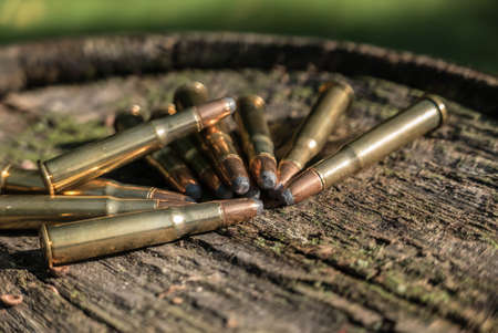 vintage military rifle: Pile of Bullets on Wood. A pile of Winchester .30 thirty-thirty WCF ammunition, on a wooden surface. Stock Photo