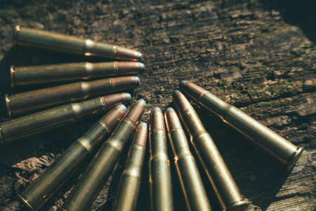 caliber: 44 Caliber Bullets.   on a wooden surface.