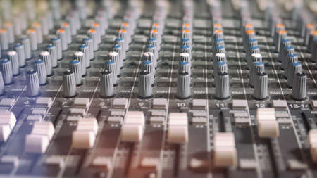 knobs: Mixing Board Classic Knobs. Pro audio mixing board faders and knobs, multi-track music recording equipment. Stock Photo