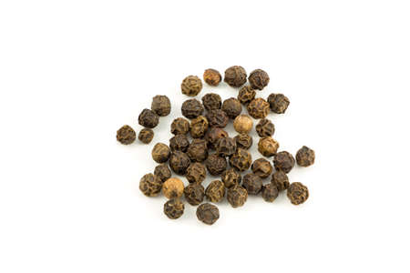 piperine: Peppercorns 2. Dried black peppercorns isolated on white.