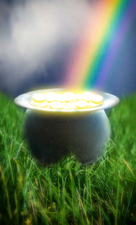 Pot of Gold Rainbow. A glowing pot of gold at the end of a rainbow.