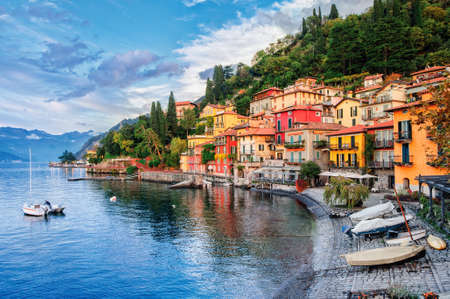 italy landscape: Town of Menaggio on lake Como, Milan, Italy Stock Photo