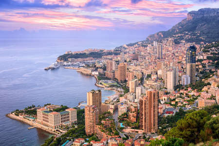 france: View of  Principality of Monaco at sunrise Stock Photo