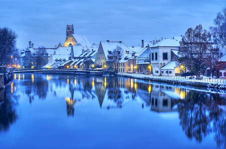 Winter evening in Landshut, german town near Munich, Germany 版權商用圖片