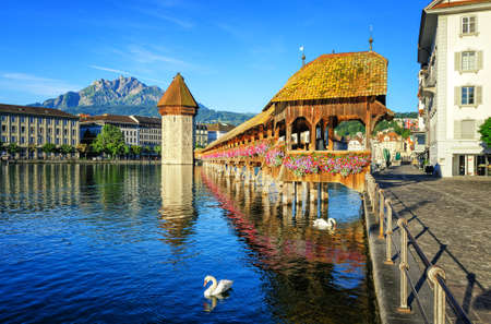 int: Wooden Chapel Bridge and Water Tower int Lucerne, Switzerland