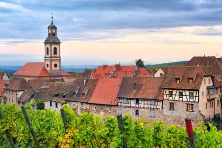 europe travel: Riquewihr, Alsace, France on sunset Stock Photo