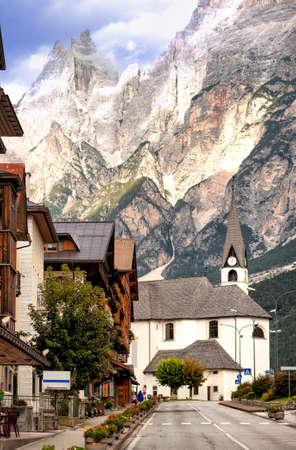 tirol: Alpine village in Dolomites Alps, Tirol, Italy Stock Photo