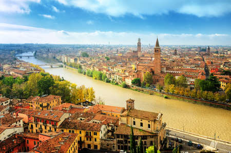 Old town of Verona and the river Adige, Italy 版權商用圖片