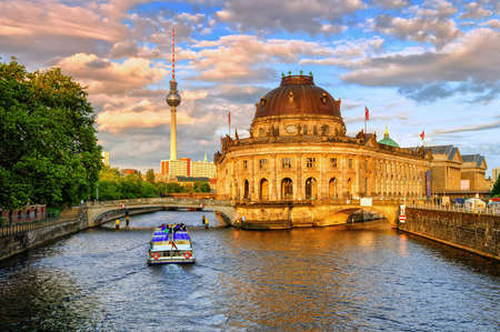 bode: Bode museum on Spree river and Alexanderplatz TV tower in center of Berlin, Germany Editorial