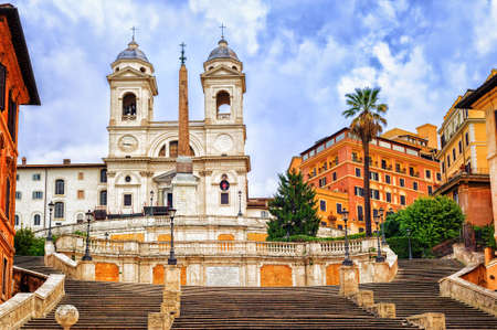 spanish steps: Spanish Steps and Trinita dei Monti church, a famous tourist destination in Rome, Italy Stock Photo