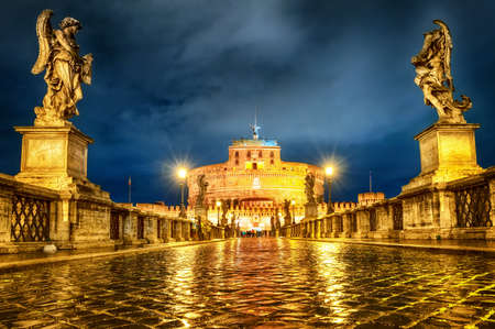holy angel: Castel San Angelo in Rome, Angelo, at night