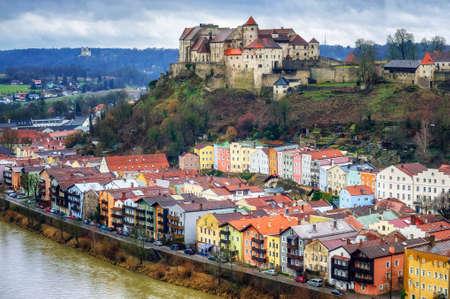 german: Burghausen, historical german town in Bavaria near Salzburg Stock Photo