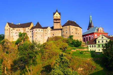 vary: Loket Castle on sunset, Czech Republic Editorial