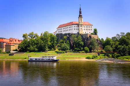 bohemia: Tetschen Castle overlooking the Elbe river, Decin, Czech Republic