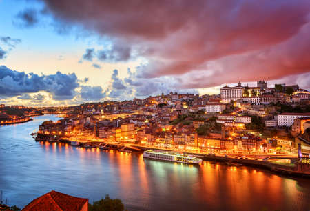 portugal: Dramatic sunset in Porto, Portugal Stock Photo